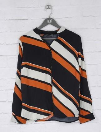 Black and orange stripe georgette top