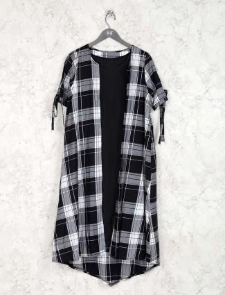 Black and white checks pattern kurti
