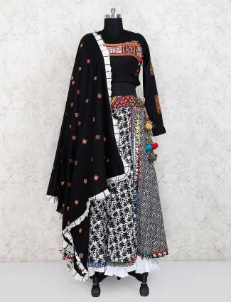 Black and white festive wear cotton printed lehenga choli