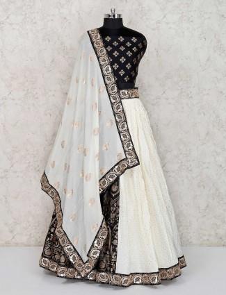 Black and white georgette semi stitched lehenga choli