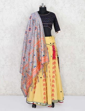 Black and yellow lehenga choli in cotton