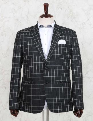 Black checks terry rayon fabric blazer