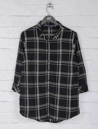 Black color cotton checks chinese neck top