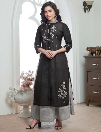 Black color cotton festive occasion kurti