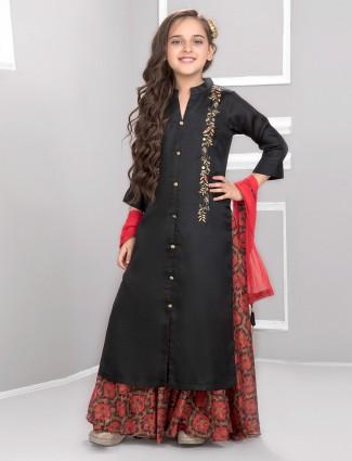 Black color cotton silk fabric punjabi sharara suit
