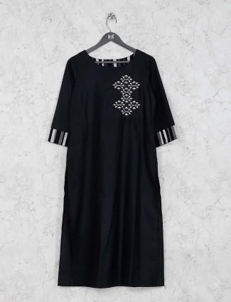 Black color cotton silk kurti set