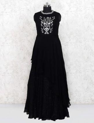 Black color georgette floor length gown