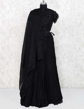 Black color georgette party lehenga choli