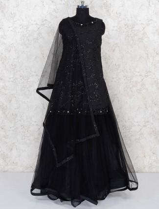 Black color gorgeous lehenga choli in net