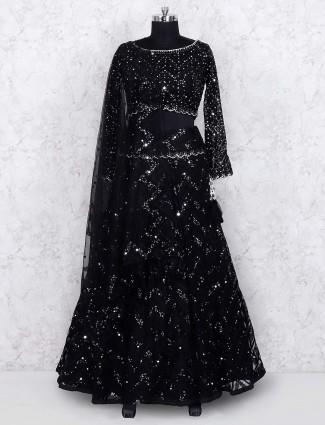 Black color net party wear lehenga choli