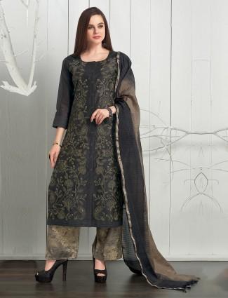 Black color punjabi palazzo suit in cotton silk