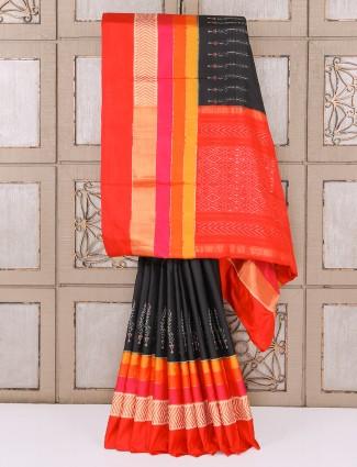Black color silk fabric patola saree