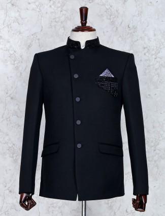 Black color solid terry rayon fabric jodhpuri suit