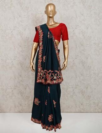 Black colour silk party wear saree