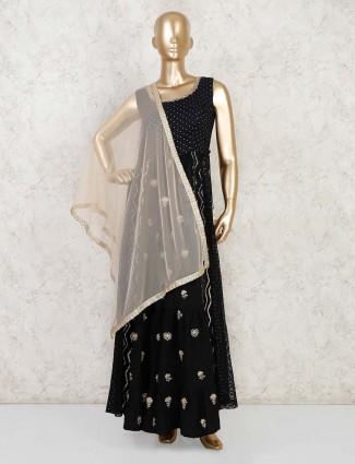 Black cotton festive anarkali palazzo suit