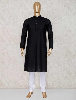 Black cotton kurta with churidar