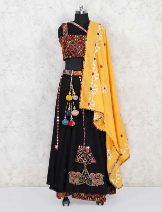 Black cotton lehenga choli in festive wear