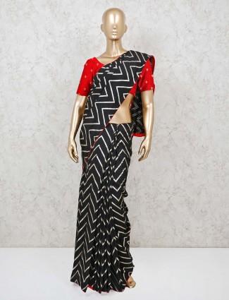 Black cotton leheriya saree for festive