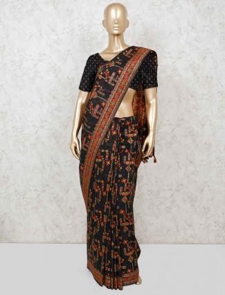 Black cotton saree in festive