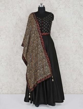 Black cotton silk anarkali suit