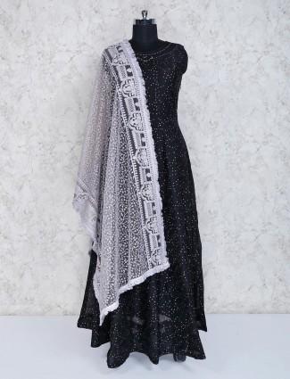 Black cotton silk anarkali suit for party wear