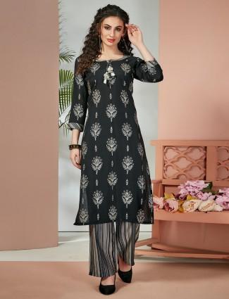 Black cotton silk festive wear palazzo set