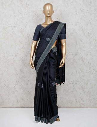 Black designer festive wear cotton silk saree