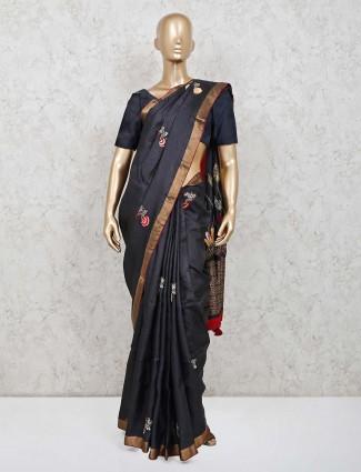 Black festive wear cotton silk saree
