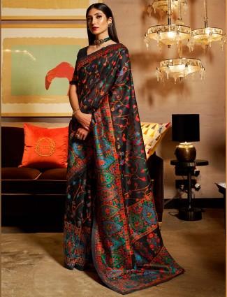 Black festive wear kashimiri silk saree