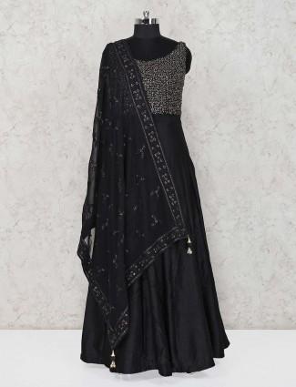Black floor length raw silk anarkali suit