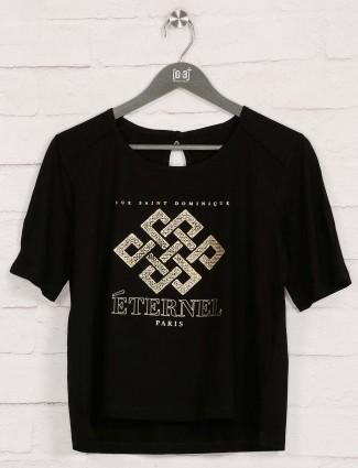 Black foil printed cotton casual wear top