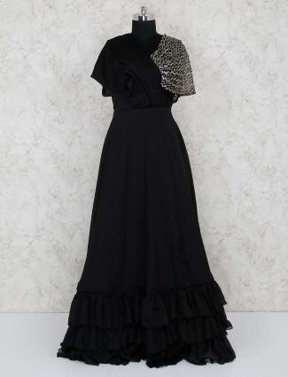 Black georgette designer floor length gown