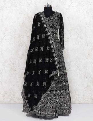 Black georgette floor length anarkali salwar suit