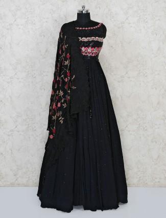 Black georgette floor length anarkali suit