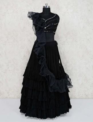 Black georgette frill lehenga choli
