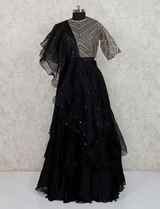 Black georgette lehenga choli for party wear