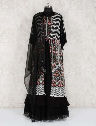 Black georgette party wear floor length suit