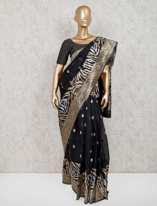 Black handloom cotton silk saree