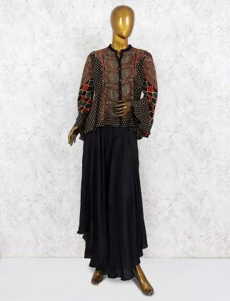 Black hue cotton fabric indo western palazzo suit