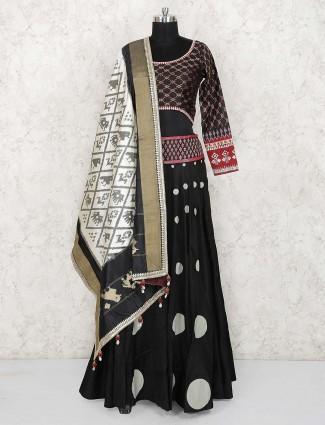 Black hue cotton party wear lehenga choli