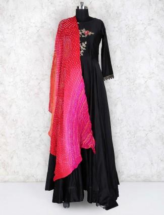 Black hue cotton silk floor length anarkali salwar suit