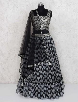 Black hue cotton silk lehenga choli for party function