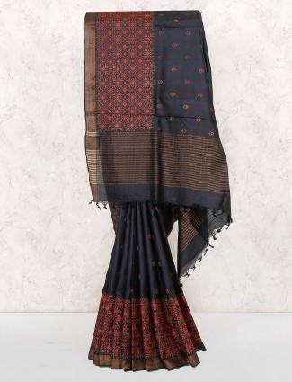 Black hue festive wear cotton saree