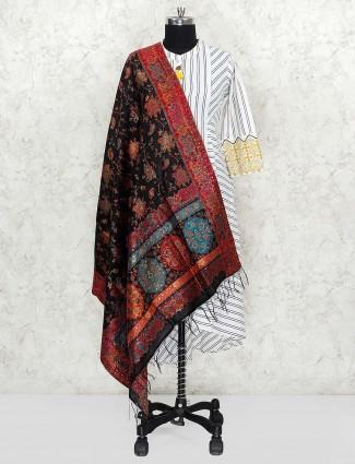 Black hue pashmina silk fabric dupatta