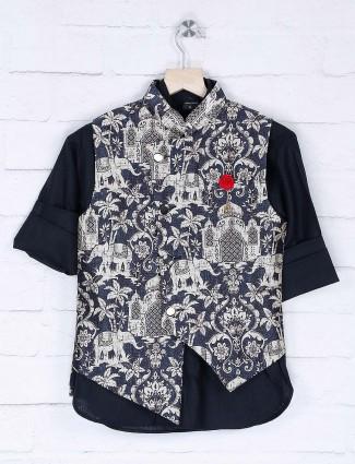 Black hue printed party wear waistcoat set