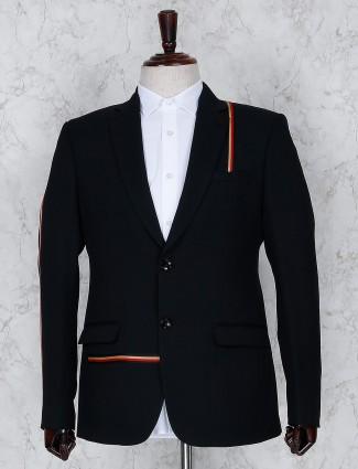 Black hue solid terry rayon blazer
