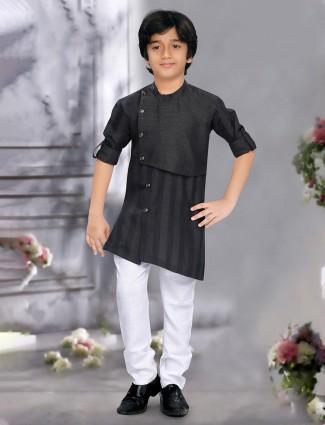 Black hue stripe pattern cotton kurta suit