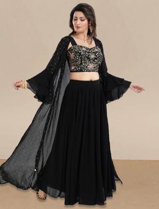 Black jacket style lehenga choli in georgette