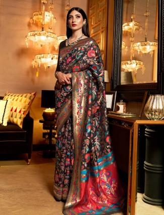 Black kashmiri silk saree for festive wear