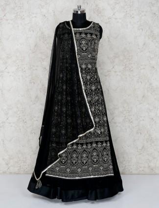 Black lehenga and suit in georgette